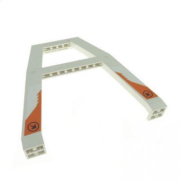1 x Lego System Kran Standfuß weiss mit Aufkleber Baustelle Stütze Verladekran Säule Träger Gerüst 7690 2635pb08