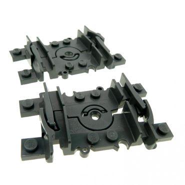 2 x Lego System Schiene neu-dunkel grau Flex Gleis flexibel beweglich Segment Eisenbahn Zug RC Train Set 3677 7938 7939 4535745 64022c00 88492c00