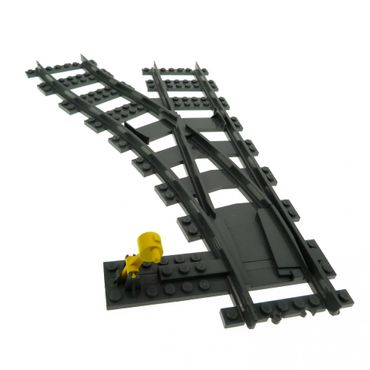 1 x Lego brick Dark Bluish Gray Train Track Plastic (RC Trains) Switch Point Left with Yellow Train Ground Throw / Track Switch 9V 2866 53407