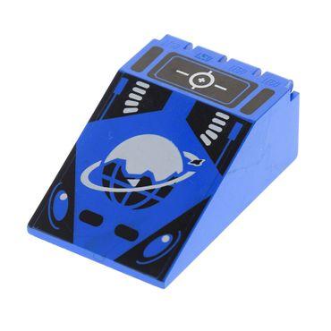1 x Lego brick Blue Windscreen 6 x 4 x 2 Canopy with Ice Planet Logo Pattern 4474p61