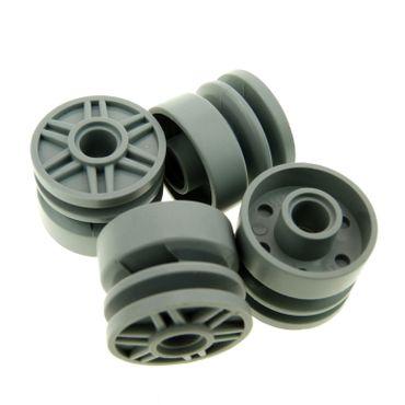 4 x Lego System Rad neu-hell grau Felge solo 18mm D. x 14mm mit Pin Loch Räder Speichen 55981