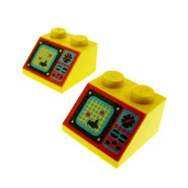 2 x Lego System Dachstein gelb 45° 2 x 2 bedruckt mit Aquazone Computer Dachziegel schräg Steine 3039pb019