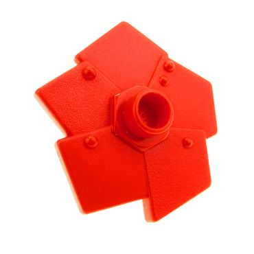 1 x Lego brick Red Duplo Plant Flower Metal Design with 5 Petals (Little Robots) 44519