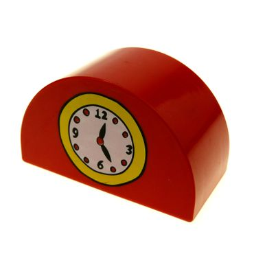 1 x Lego Duplo Möbel Uhr rot 2x4x2 Halb Rund Motiv Stein mit Zeiger Aufdruck Puppenhaus Wohnzimmer Bahnhof Eisenbahn 31213pb002