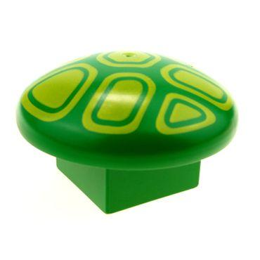 1 x Lego brick Green Duplo Mushroom 2 x 2 Base with Yellow Geometric Pattern 31219pb02