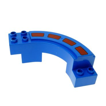 1 x Lego brick blue Duplo Road Section Curve with Stripes Pattern Set 2280 2281 31205pb01
