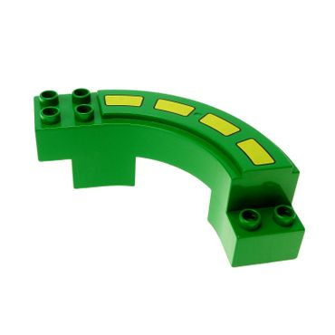 1 x Lego brick green Duplo Road Section, Curve with Stripes Pattern Set 2280 2281 9067 31205pb01