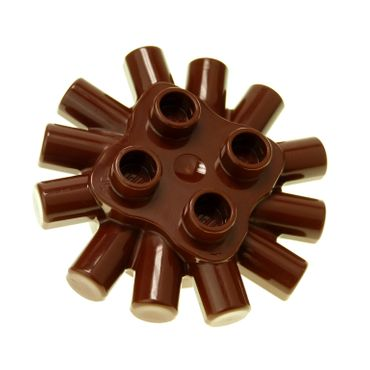 1 x Lego brick reddish Brown Duplo Brick Round 2 x 2 with Radiating Bars Set 5598 6156 10804 4279100 31070