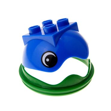 1 x Lego brick blue Duplo Ball Tube Cover Ring Hinged Top with Eyes with green Duplo Ball Tube Cover Ring with Hinge 40710 40711pb01