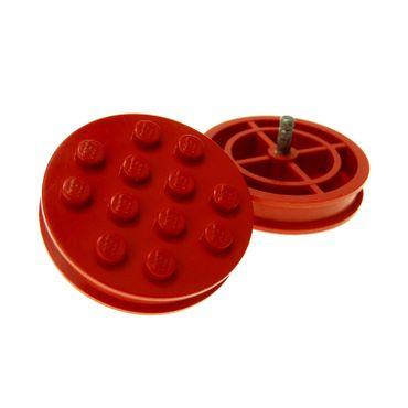2 x Lego System Rad rot Räder Felge solo groß alt Metall Stift silber grau 70er Jahre Auto Anhänger Zug 715