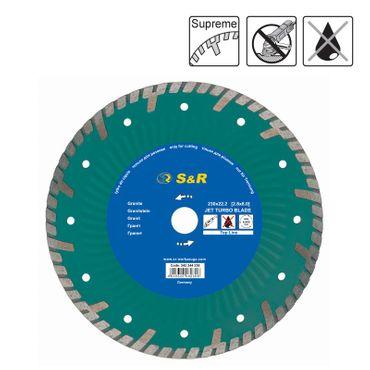 S&R Diamanttrennscheibe 230x2,8(8,0)x22,2 mm Turbo Supreme Granit mit Schutzsegmenten, Trockenschnitt