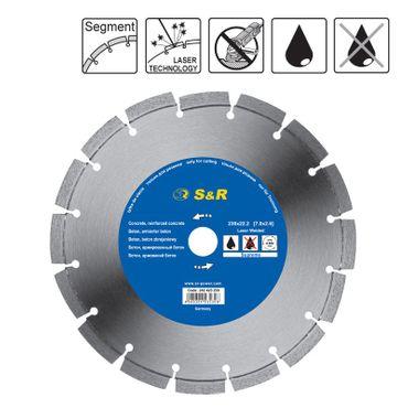 S&R Diamanttrennscheibe Segment 230x2,6(7)x22,2mm Supreme Beton  lasergeschweißt, Trockenschnitt