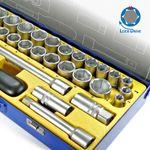 """S&R Steckschlüsselsatz Knarrenkasten 39-tlg. 1/2"""" LOCK-DRIVE Profil, Werkzeugset Werkzeugkasten 1/2 Zoll in Metallbox, Ratschenkasten Industrie Qualität 001"""