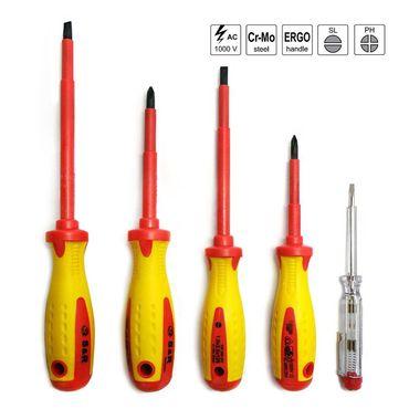 S&R VDE Elektriker - Schraubendreher Satz 5-tlg. Kraftform-Griff, SL-PH-Spannungsprüfer, Profi-Qualität