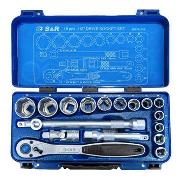 """S&R Steckschlüsselsatz 18-tlg. 1/2"""" Dynamic Drive Profil, in Kunsttoffbox"""