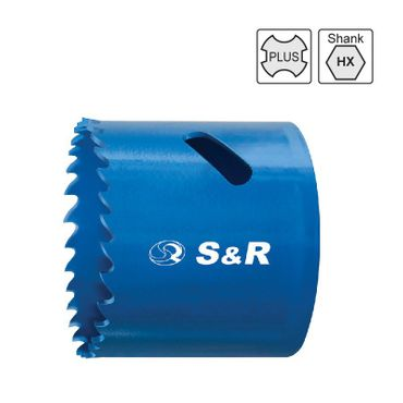 S&R Lochsäge 168mm HSS Bi-Metall 4/6 tpi,38mm Universal für Holz, Metall, Kunststoff, Gipskarton