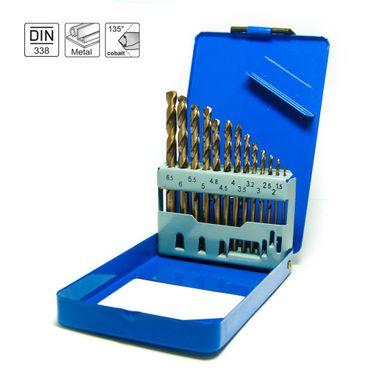 S&R Metallbohrer Set 1,0 - 6,5 mm , 13 Stk, DIN 338, HSS COBALT, Kobaltlegiert, C-Schliff nach DIN 1412 135°, geschliffen, Metallbox. Profi-Qualität  – Bild 1