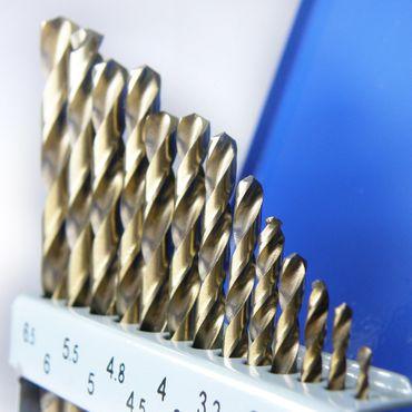 S&R Metallbohrer Set 1,0 - 6,5 mm , 13 Stk, DIN 338, HSS COBALT, Kobaltlegiert, C-Schliff nach DIN 1412 135°, geschliffen, Metallbox. Profi-Qualität  – Bild 4