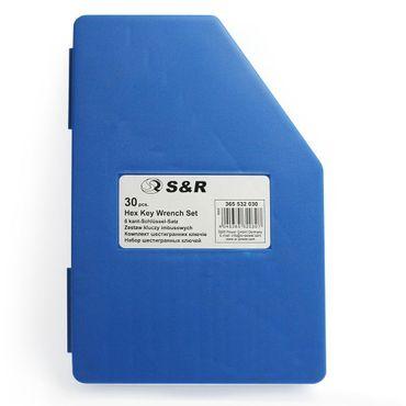S&R Innensechskantschlüssel Satz HX, 30-tlg. 0,7- 10 mm, metrisch und 0,028 bis 3/8, Zoll, in Kunststoffbox  – Bild 5