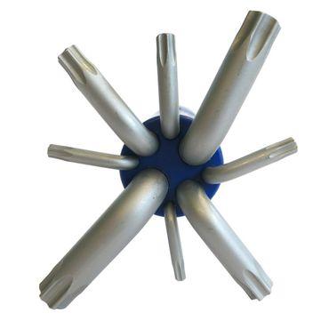 S&R Winkelschlüsselsatz für Torx-Schrauben 8-tlg. gebohrt TX10-TX50, in Zylinder-Kunststoffclip – Bild 3
