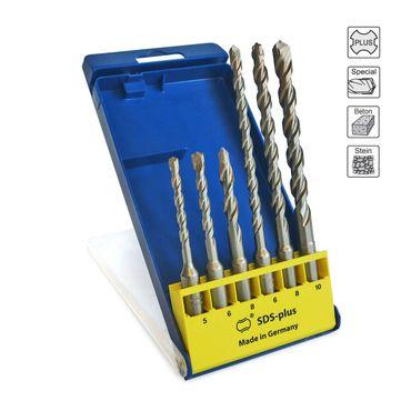 S&R Professional Hammerbohrer / SDS Bohrer Set / Bohrer SDS Plus 6-tlg: 5,6 ,8 x 110mm; 6,8,10, x 160mm für Beton, Granit, Stein.Bohrer für Bohrhammer. MADE IN GERMANY  – Bild 1