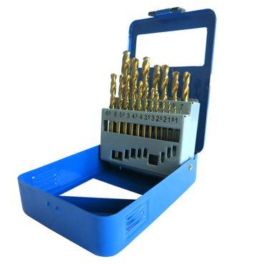 S&R Metallbohrer Set, 1 - 10 mm ,135°, 19 Stk, DIN 338, geschliffen, HSS TITANIUM, Nitrit-Titan-Beschichtung, Metallbox.Profi-Qualität – Bild 3