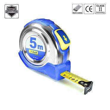 S&R Bandmaß 5,0 m x 19 mm, Rollband mit kompaktes Edelstahlgehäuse mit Gürtelclip, Nylon-Polymer beschichtetes Band, Autolock, FERRO Serie, PROFI  – Bild 1