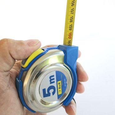 S&R Bandmaß 5,0 m x 19 mm, Rollband mit kompaktes Edelstahlgehäuse mit Gürtelclip, Nylon-Polymer beschichtetes Band, Autolock, FERRO Serie, PROFI  – Bild 4