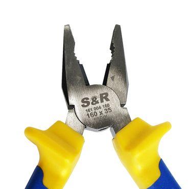 S&R Kombizange 160 mm x34mm, Cr-V, 2-Komponentengriffen, gummiert  – Bild 5