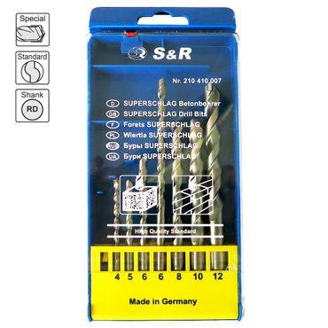 S&R Betonbohrer Set, Superschlag mit zylindrischem Schaft in Kunststoffbox 7Stk: 4x85, 5x85, 6x100, 6x150,8x120, 10x120,12x150 mm./MADE IN GERMANY – Bild 2