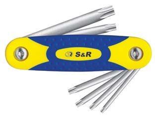S&R TORX Schlüsselsatz 8-tlg, zusammenklappbar, TX8-TX40, in Kompakt-Metall-Kunststoffclip