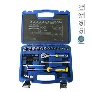 """S&R Steckschlüsselsatz 39-tlg. 1/4"""" LOCK-Drive Profil in Plastikbox, Werkzeugkasten Ratschenkasten 1/4 Zoll Hobby-Line. Einführungspreis!  – Bild 1"""