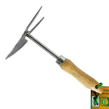 Grüntek Doppelhacke Kleinhäckchen 25x7,5 cm aus Edelstahl mit Holzgriff aus Buchenholz  – Bild 1