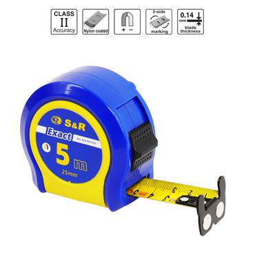S&R Bandmaß Metrisch und Zoll Q-Serie 5m / 16 ft, Band 25 mm, Massband Nylon beschichtet, schlagfestes Rollband gummiertes Gehäuse  – Bild 2