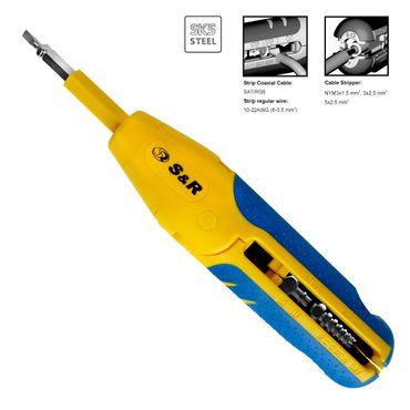 S&R MULTI Universal-Abisolierwerkzeug / Kabelschneider 3x1,5 mm / Bithalter PZ2 & Schlitz 4.0mm, Abmanteler Niedervolt Kabel 8-13mm 10-20AWG, SAT/RG6 & RG59 Abisolierer Entmanteler – Bild 1