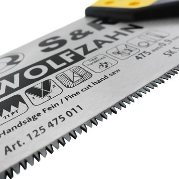S&R Handsäge Feinschnitt, Länge 475mm, 11 Zähne/Zoll, Bi-Material, 3D-Verzahnung, Sägeblatt 0,9 mm – Bild 6