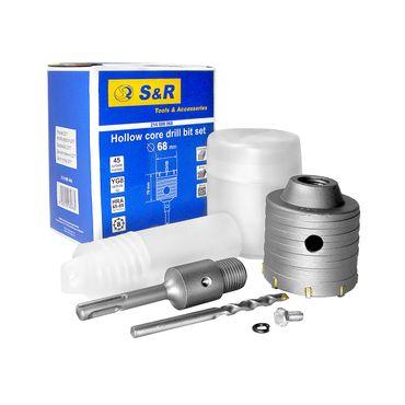 S&R Hohl-Bohrkrone Set Ø 68mm mit SDS plus Adapter 110mm und Zentrierbohrer 8x110mm – Bild 3
