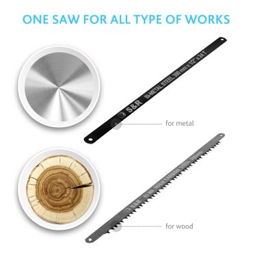 S&R Multifunktionssäge mit 2 Sägeblättern: BiM Sägeblatt für Metall und 65 Mn für Holz. Bügelsäge Feinsäge – Bild 8