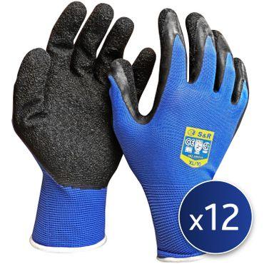 S&R Schutzhandschuhen 12 Paar aus Nylonfaser mit Latexbeschichtung , Gr. XL/10, geeignet für den privaten und gewerblichen Gebrauch  – Bild 1
