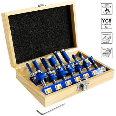 S&R Fräser-Set 15-tlg, HM, Schaft 8mm, geschmiedeter Werkzeugstahl, Schneideplatten aus HM in Holzbox – Bild 1