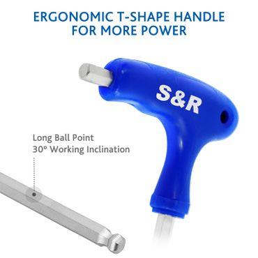 S&R Innensechskantschlüssel T-Griff mit Kugelkopf, Satz 10-tlg.:  2 mm - 10 mm, metrisch – Bild 2