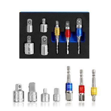 """S&R Stecknuss-Adapter-Set 7-tlg.:  3 Stück 1/4"""" Sechskant-Adapter für 1/4""""-, 1/2""""-,  3/8"""" -Vierkant  + 4 Stück Adapter für F3/8"""" x  M1/4"""",  F1/4"""" x  M3/8"""",  F1/2"""" x  M3/8"""", F3/8"""" x  M1/2"""" – Bild 5"""