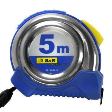 S&R Bandmaß 5,0 m x 19 mm, Rollband mit kompaktes Edelstahlgehäuse mit Gürtelclip, Nylon-Polymer beschichtetes Band, Autolock, FERRO Serie, PROFI  – Bild 3