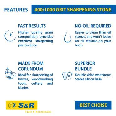 S&R Doppelseitiger Schleifstein / Wetzstein 18 x 6 x 3 cm, mit Körnung 1000/4000 und Silikonhalter aus 100% Korund  – Bild 5