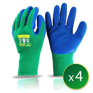 GRÜNTEK 4 Paar Schutz-Winterhandschuhe mit Polyesterfutter und Latexbeschichtung , Gr. XL/10, geeignet für den privaten und gewerblichen Gebrauch  – Bild 1