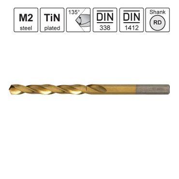 S&R Metallbohrer TM-Serie 5,20x52x86mm 135°,10 Stk DIN338,HSS TiN-beschichtet, Kunstst.box