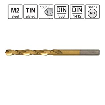 S&R Metallbohrer TM-Serie 6,00x57x93mm 135°,10 Stk DIN338, HSS TiN-beschichtet, Kunstst.box
