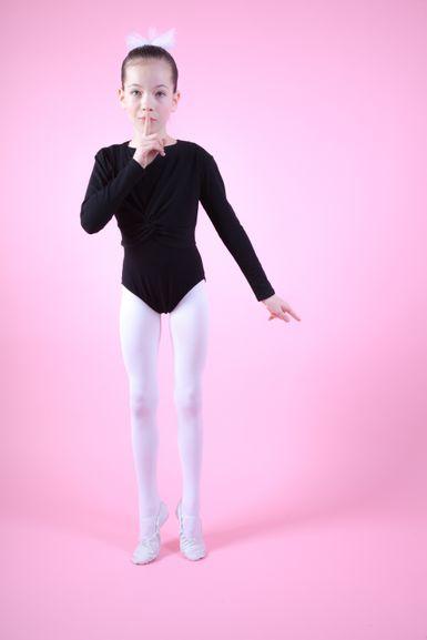 """Ballett Langarm Top """"Mia"""" mit Twist, schwarz"""