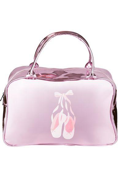 "Ballett Tasche ""Elisa"" rosa Lack mit Ballettschuhe Print"