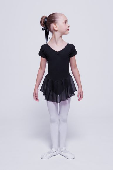 "Kurzarm Ballett Trikot ""Betty"" mit Chiffon Rock, schwarz"